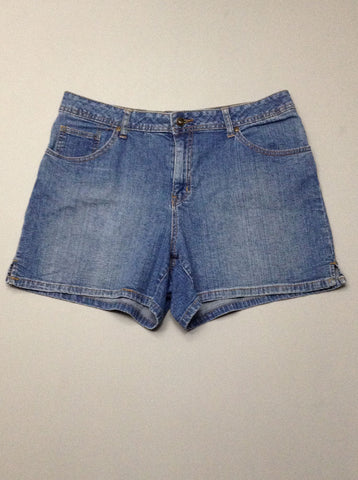 Blue Plain Denim Shorts, Size: 14 R