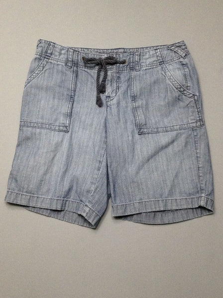 Blue Plain Denim Shorts, Size: 8 R