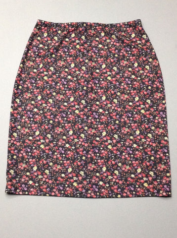 Multicolor Floral Pattern Stretch Knit Skirt, Size: Medium