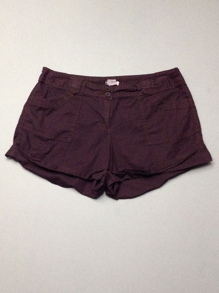 Purple Plain Casual Shorts, Size: 12 R