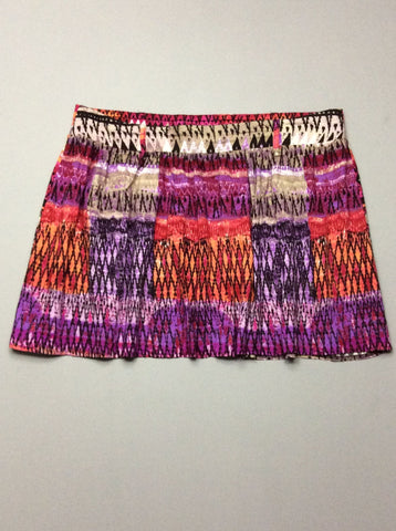 Multicolor Pattern Mini Skirt, Size: Large