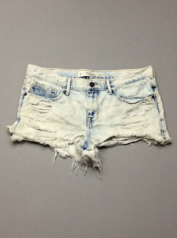 Blue Distressed Denim Shorts, Size: 10 R