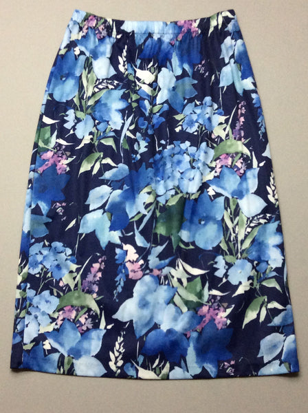 Blue Floral Pattern Straight Skirt, Size: 6