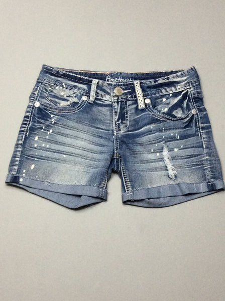 Blue Plain Denim Shorts, Size: 5 R