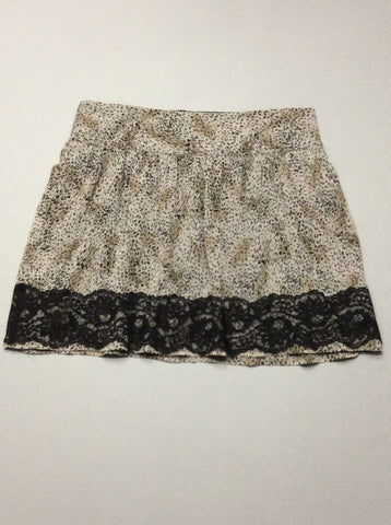 Gray Pattern Mini Skirt, Size: Medium