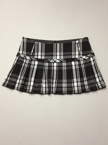 Black Plaid Mini Skirt, Size: 9 R