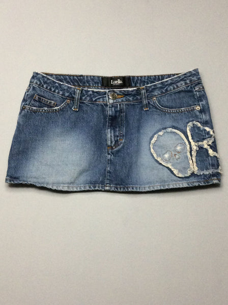 Blue Plain Mini Skirt, Size: 13 R