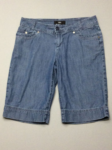 Blue Plain Denim Shorts, Size: 4 R