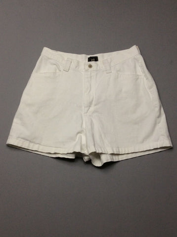 White Plain Casual Shorts, Size: 30.0