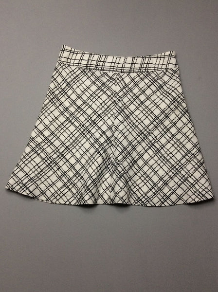 White Plaid A-Line Skirt, Size: 6 R