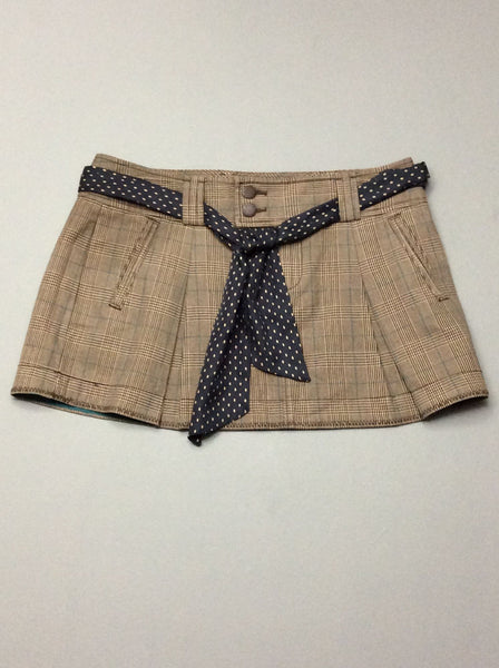 Brown Plaid Mini Skirt, Size: 6 R