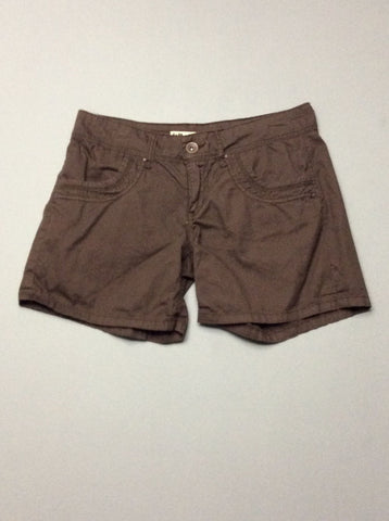 Brown Plain Casual Shorts, Size: 7 R