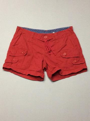 Red Plain Casual Shorts, Size: 3 R