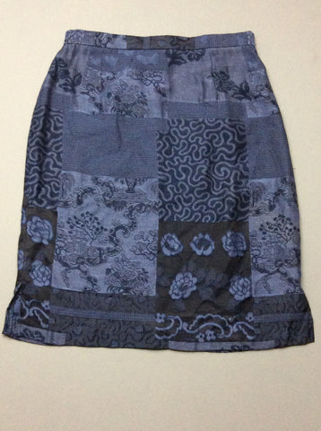 Blue Pattern Straight Skirt, Size: 10 R