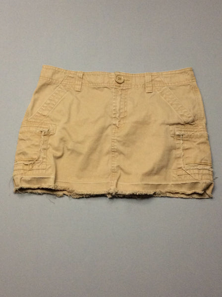 Beige Plain Mini Skirt, Size: 6 R