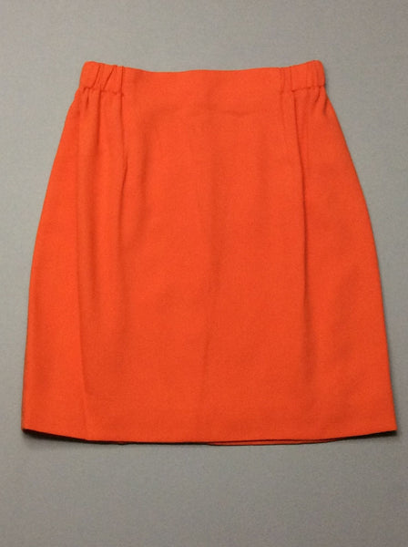 Orange Plain Straight Skirt, Size: X-Small