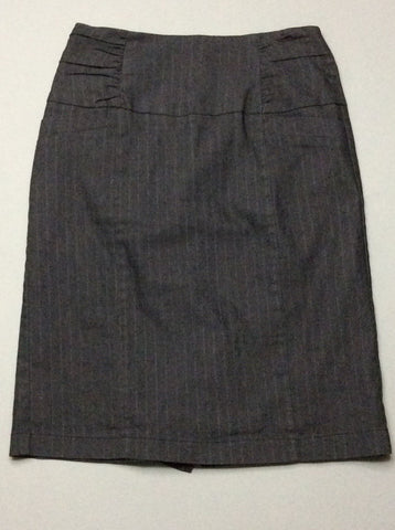 Gray Pinstripe Pencil Skirt, Size: Small