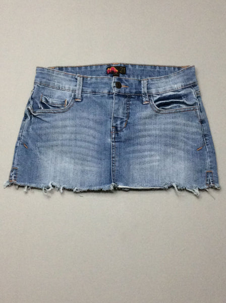 Blue Plain Mini Skirt, Size: Small