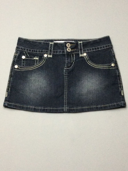 Blue Plain Mini Skirt, Size: 1 R