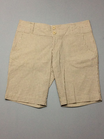 Beige Plaid Casual Shorts, Size: 9 R