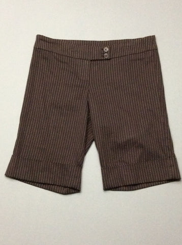 Brown Pinstripe Dress Shorts, Size: 3 R