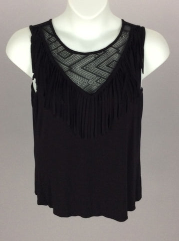 Black Fringe Traditional Blouse, Size: Large