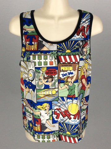 Multicolor Printed Design Tank Top, Size: Medium