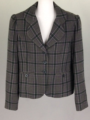 Gray Pattern 3-Button Blazer, Size: Large