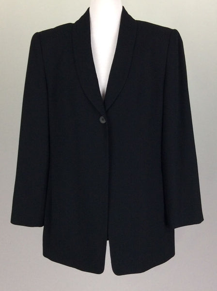 Black Plain 1-Button Blazer, Size: 8 R