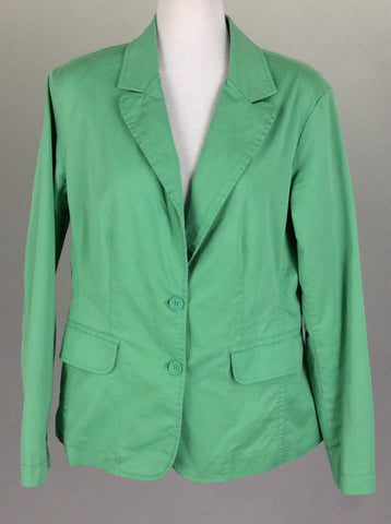 Green Plain Double-Breasted Blazer, Size: Medium