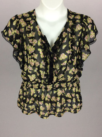 Multicolor Floral Pattern Traditional Blouse, Size: Large