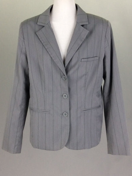 Gray Striped 3-Button Blazer, Size: 12 R