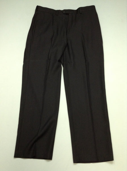 Black Plain Flat Front Dress Pants, Size: 36/30 R