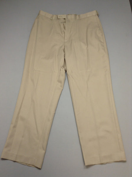 Beige Polka Dot Pleated Front Khakis Pants, Size: 36/30 R