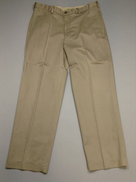 Brown Plain Flat Front Dress Pants, Size: 36/30 R