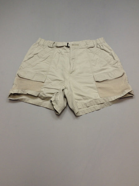 Beige Plain Khakis Shorts, Size: Large