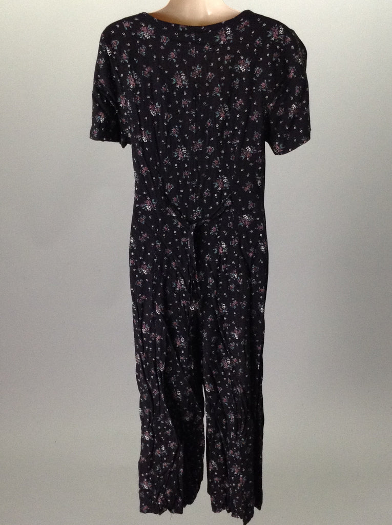 Pellini Black 100% Rayon Floral Pattern Casual Traditional Dress Size: 9/10 R