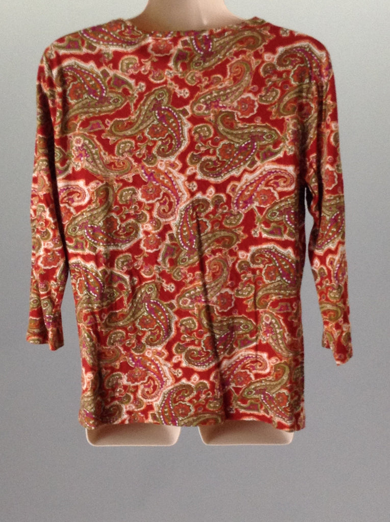 Jones New York Sport Red 100% Cotton Funky Traditional Blouse Size: Large