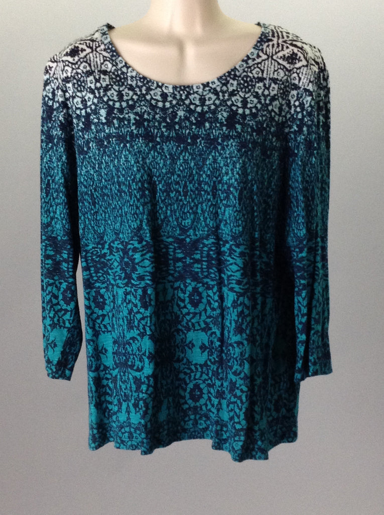 Weekends by chico's Green 100% Cotton Pattern Traditional Blouse Size: 3 R