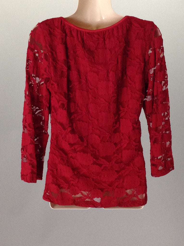 Wrapper Red 100% Polyester Floral Pattern Tunic Top Size: X-Large