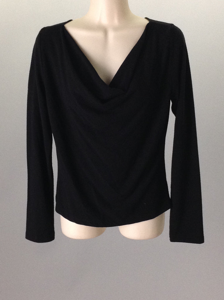 Young at Heart Black 55% Spandex 45% Rayon Plain Traditional Blouse Size: Large