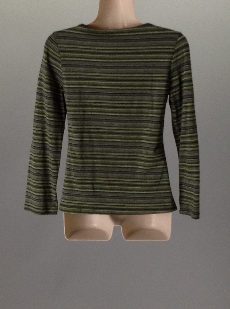 Green 85% Cotton 15% Lycra Striped Traditional Blouse, Size: Medium