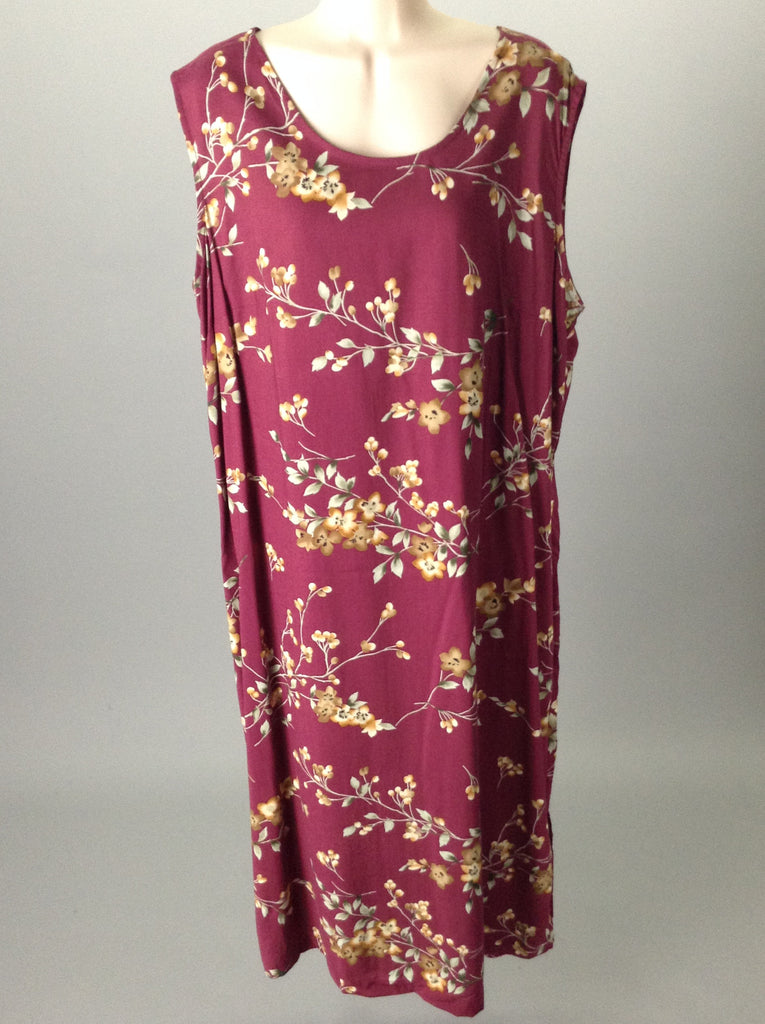 Ann Thornton Red 100% Rayon Floral Pattern Long Sun Dress Size: X-Large