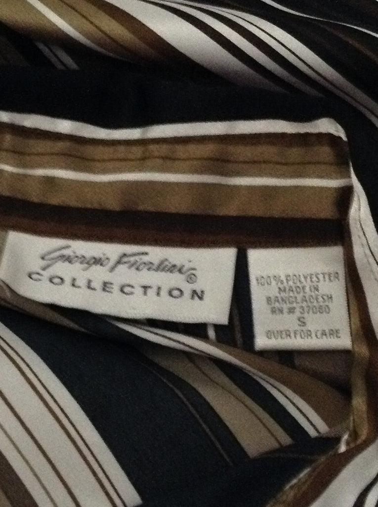 Brown 100% Polyester Striped Button Down Shirt, Size: Small