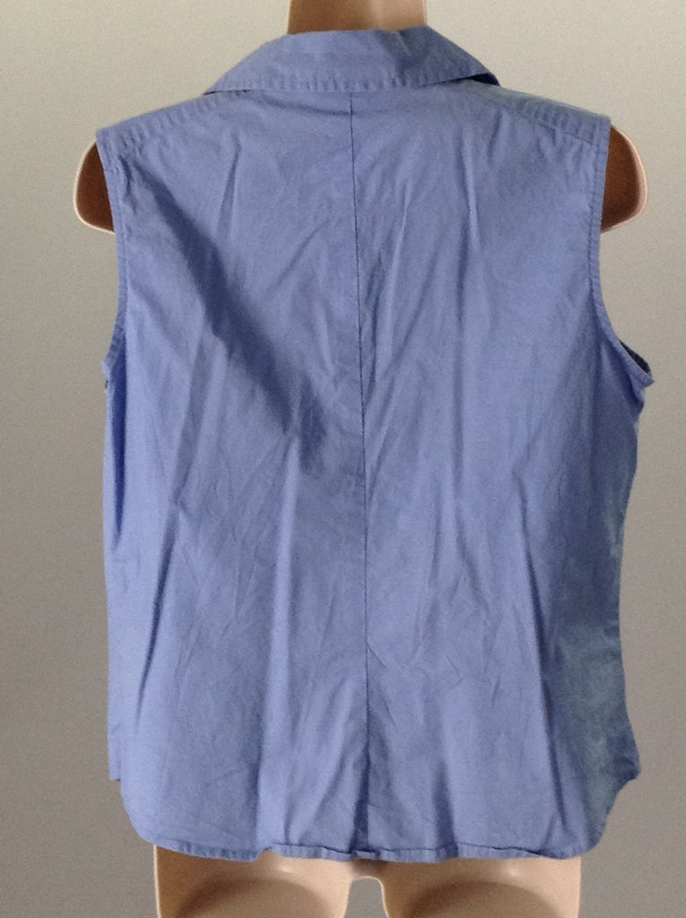 Blue 95% Cotton 5% Spandex Plain Button Down Shirt, Size: 8 R