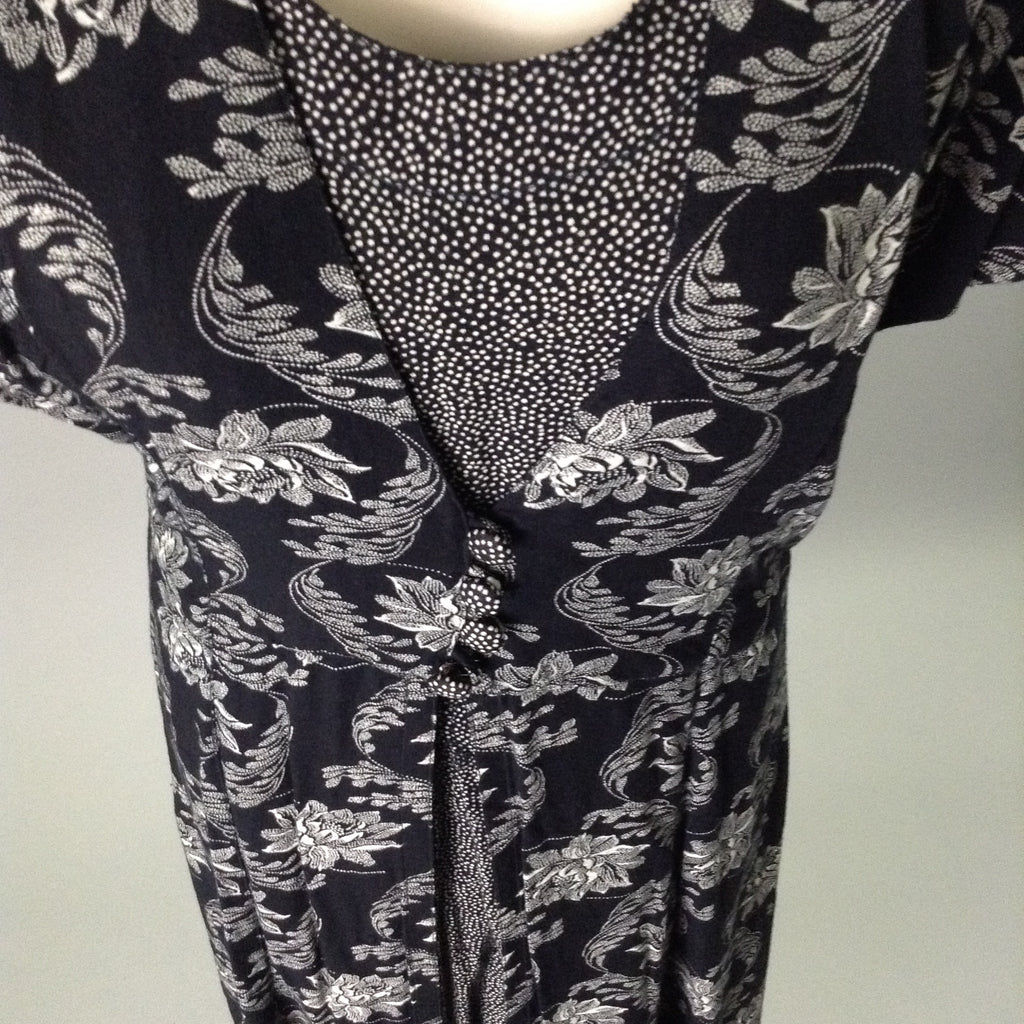 S. Roberts Black 100% Rayon Floral Pattern Casual Traditional Dress Size: 6 R