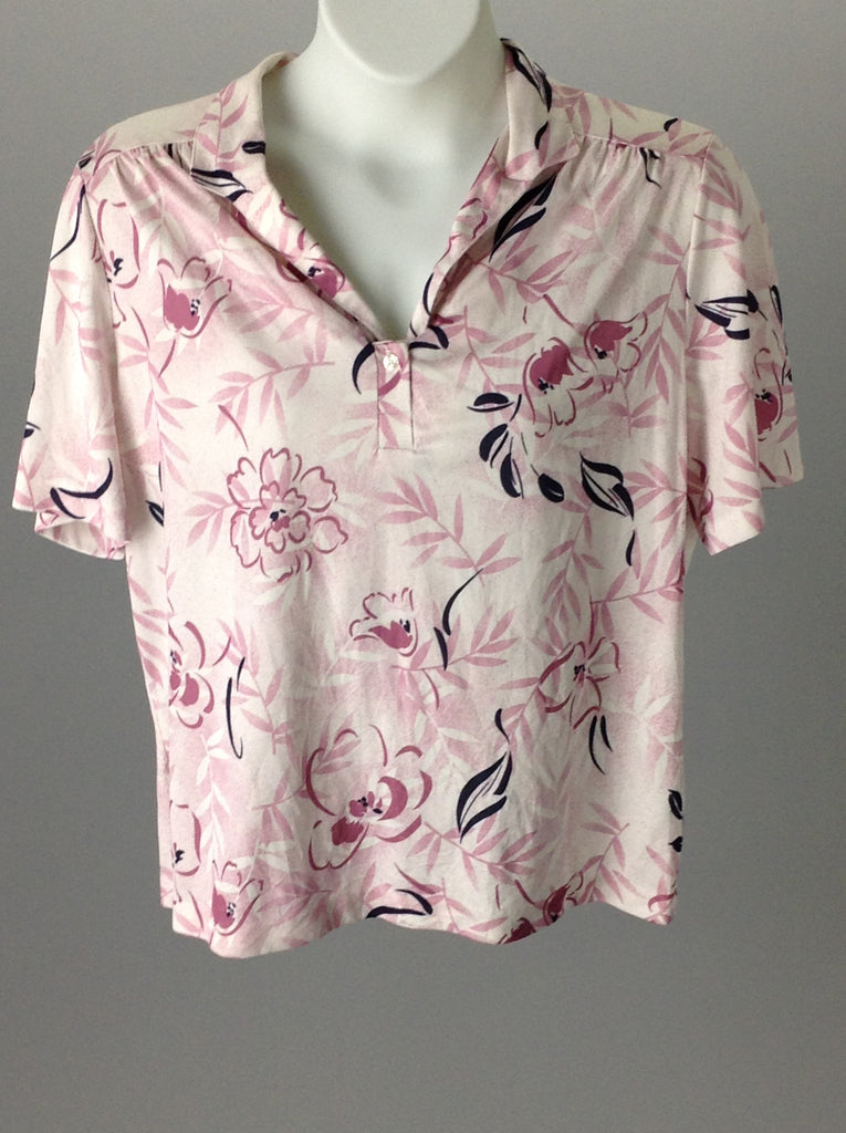 Lady Devon Pink Floral Pattern Button Down Shirt