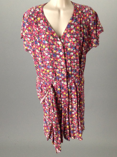 Liz sport Pink 100% Rayon Floral Pattern Romper Size: Small