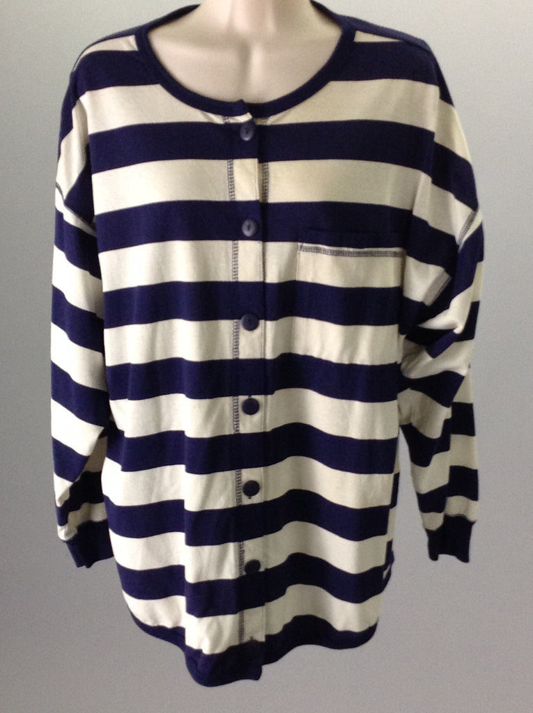 Nuggets Blue 65% Polyester 35% Cotton Striped Button Down Shirt Size: Large