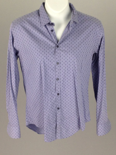 Blue Polka Dot Casual Long sleeve Button Up Shirt, Size: X-Large